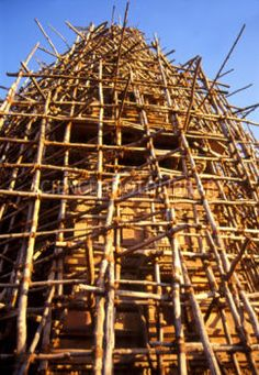 Wooden scaffolding on a building in India