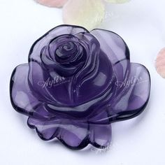 Amethyst Carved Flower Pendant Bead For Necklace Purple Love, All Things Purple, Purple Glass, Shades Of Purple, Purple Stuff, Vases, Purple Reign, Rocks And Gems, Stone Carving