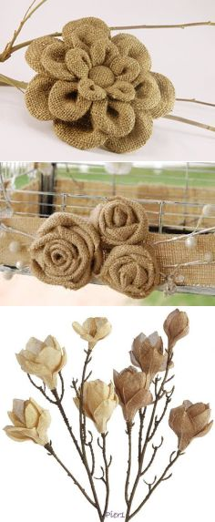 Burlap Flowers, Diy Flowers, Fabric Flowers, Paper Flowers, Diy Arts And Crafts, Creative Crafts, Fall Crafts, Crafts To Make, Burlap Crafts