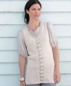 Free knitting pattern - V Neck Leaf Tunic by Lisa Richardson in Rowan Pima Cotton DK: http://www.mcadirect.com/shop/rowan-pima-cotton-dk-discontinued-p-2516.html