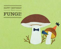 """Our """"Happy Birthday Fungi"""" card is lovingly handcrafted in the Philippines by women survivors of sex trafficking. The card incorporates a variety of handmade, recycled papers, making it environmentall"""