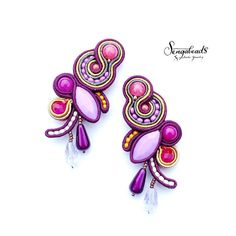 Ruby glint hand embroidered soutache earrings with silver earring studs. Soutache jewelry. Soutache earrings. Colorful earrings. Gift.