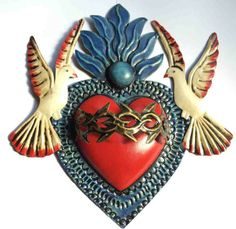 Work doves to coordinate with back piece Mexican Folk Art, Mexican Style, Religious Icons, Religious Art, Tin Art, Heart Of Jesus, I Love Heart, Sacred Heart, Heart Art