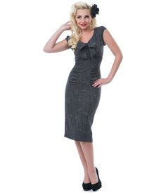 Stop Staring Charcoal Grey Caroline Wiggle Dress - Unique Vintage - Cocktail, Pinup, Holiday & Prom Dresses.