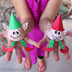 Learn how to make egg carton elves for a Christmas craft! It's a cheap and easy art project for the kids to make.