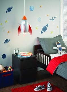 cute space/rocket themed kid's bedroom and links to great fun lighting choices