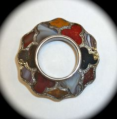 Antique Sterling Scottish Agate Brooch Pin c1860