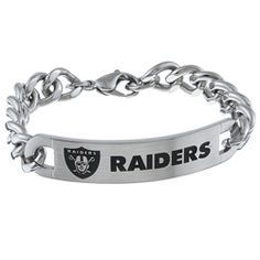 @Overstock - A plate engraved with the team logo of the Oakland Raiders adorns this bold curb bracelet. The bracelet is crafted of stainless steel in a highly polished finish and secures with a lobster claw clasp.http://www.overstock.com/Jewelry-Watches/Stainless-Steel-Oakland-Raiders-Link-Bracelet/5646395/product.html?CID=214117 $60.99