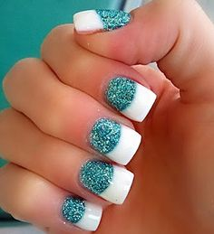 turquoise glitter french party nails - too much white but i like the concept