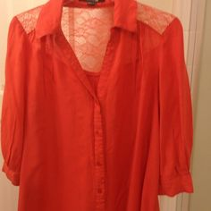 Lace Burnt orange blouse Button down blouse has lace upper back, worn once Forever 21 Tops Blouses