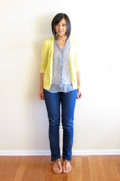 Yellow Cardigan & Gray Triangles Tank