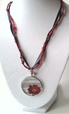 Beaded glass red flower pendant necklace  focal by PinkCupcakeJC, $20.00
