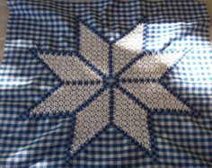 scratch embroidery Blue Gingham Wall Hanging chicken scratch by MyCraftBooth on Etsy Chicken Scratch Patterns, Chicken Scratch Embroidery, Embroidery Patterns Free, Embroidery Stitches, Quilt Patterns, Blue Gingham, Gingham Check, Swedish Weaving, Ribbon Embroidery