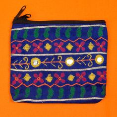 Blue hand embroidered ethical Indian made purse by SaheliDesigns