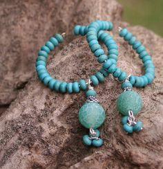 Turquoise Green Glass Hoop Boho Rustic Earthy by MissieRabdau, $37.00