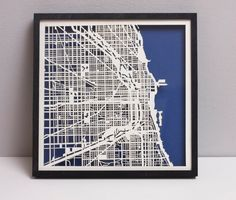 Chicago Laser Cut Map With Minimal Shadowbox Frame- city map Cut Out Art, Chicago Map, Unique Maps, 3d Laser, Paper Book, Map Art, Plexus Products, Shadow Box, Laser Cutting