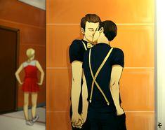 Glee FanArt: Klaine Regionals by *NinaKask on deviantART (Basically what went down in that hallway.)