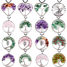 Tree Of Life Chakra Crystal Gemstone Stone Reiki Healing Pendant Necklace Uk