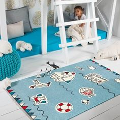 The Kids Line Collection by Arte Espina Contemporary Rugs, Modern Rugs, Boy Room, Kids Room, Childrens Rugs, Kids Line, Printed Curtains, Calming Colors, Modern Prints