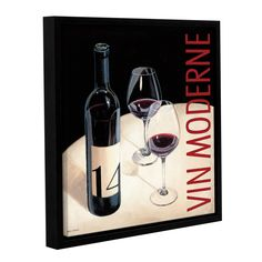 Marco Fabiano's Vin Moderne 5, Gallery Wrapped Floater-framed Canvas is a goreous reproduction featuring a vintage style sign for a bottle of red wine. A wonderful piece that will compliment any kitchen or dining area