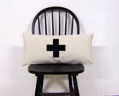 swiss cross lumbar pillow - black - canvas - home decor - black swiss cross - rustic modern home- black cross pillow cover -cros