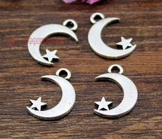 50pcs- Moon and Star Charms, Antique Tibetan Silver Moon and Star charm Pendants 17x11mm