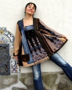 Reserved for Bonnie L-XL Crazy western super patchwork brown and blue denim recycled tunic hippie boho