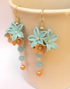 Flower earrings #Dangle #earrings Light blue by #insoujewelry