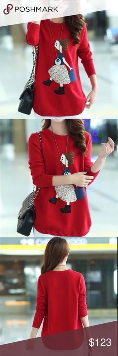 Red Girl Sweater Beautiful and new! Sweaters