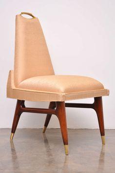 Arturo Pani; Mahogany and Brass Dining Chair, 1950s.