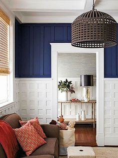 Living Room Color Scheme: All-American - unique wainscoting