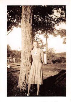 Photograph Snapshot Vintage Black and White Woman Dress Smile Yard 1940'S | eBay