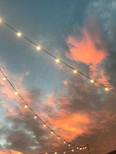 String lights against a sunset sky VSCO wallpaper - Sky Aesthetic, Summer Aesthetic, Aesthetic Photo, Aesthetic Pictures, Aesthetic Drawings, Aesthetic Collage, Flower Aesthetic, Aesthetic Fashion, Wallpeper Tumblr