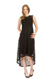 PD-7609 - Lace High-Low Midi Dress with Sequin Detail - Colors: As Shown - Available Sizes:XS-XXL - Catalog Page:45
