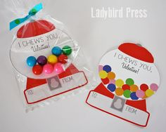 Printable Gumball Valentines Day Card Gumball by LadybirdPress