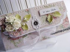 Great Idea! Clutch bag envelope, raised label, pretty flowers and ribbon ties.