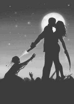 The couple that slays together stays together on this romantic Zombie Lovers Art Print. Just because the dead start walking and society crumbles into chaos, Art Zombie, Dead Zombie, Zombie Life, Zombie Movies, Apocalypse Survival, Apocalypse Art, Chandler Riggs, Fanarts Anime, Rick Grimes