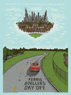 2016 Ferris Bueller's Day Off - Super Gold Silkscreen Movie Poster by Marq Spusta Screen Print Poster, Poster Prints, Art Prints, Omg Posters, Dinosaur Jr, Save Ferris, Life Moves Pretty Fast, Non Plus Ultra, Ferris Bueller