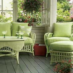 All green summer porch.