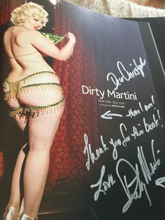 Signed Burlesque book by Dirty Martini