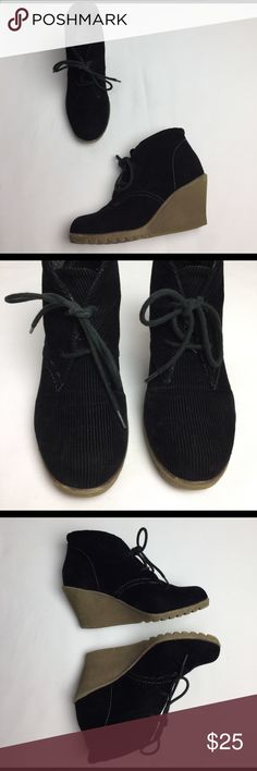 """Big Buddha Black Codoruy """"UTAH"""" Lace Up Wedges Gently used,Black,Fabric Upper,Lace Up,Wedge,Made In China Big Buddha Shoes Lace Up Boots"""