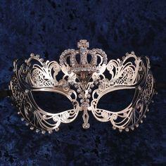 Charming Princess Crown Venetian Masquerade Mask With Diamonds - Gold - ILOVEMASKS.COM