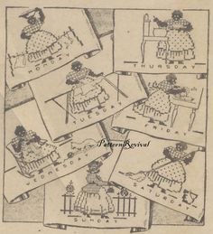 Tea Towel Embroidery 845 Mammy Days of the Week by PatternRevival at etsy