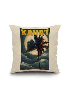 Kaua'i, Hawaii - Palm and Moon - Lantern Press Artwork (18x18 Spun Polyester Pillow, White Border), Multi