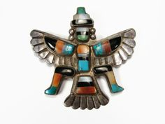 Zuni Knifewing Brooch, Attributed Leo Poblano, Sterling Silver, Vintage Native American, Spiny Oyster, Turquoise Brooch, Zuni Pin, Brooch