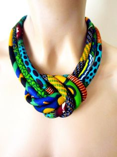 Items similar to Chunky necklace/ African bold jewelry/ fabric cord necklace, Ethnic jewelry, Bib necklace, colorful necklace on Etsy The Knot, Fabric Necklace, Knot Necklace, Tribal Necklace, Strand Necklace, African Necklace, African Jewelry, Textile Jewelry, Fabric Jewelry