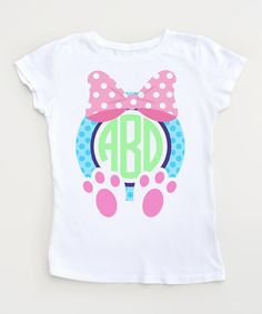 Bunny Feet Monogram Easter Tee - Toddlers & Girls by Party On! #zulily #zulilyfinds