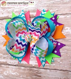 Bright Summer Fun Colors - Chevron OTT Loopie Bow - Neon - Great for all Occasions - Perfect Fit for All Ages on Etsy, $8.75