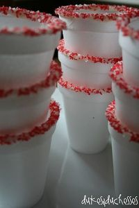 Christmas idea...Cocoa cups edged with peppermint sprinkles