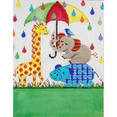 Item# AP3661, Umbrella & Animals Birth Announcement Handpainted needlepoint design on 13 mesh cotton canvas.